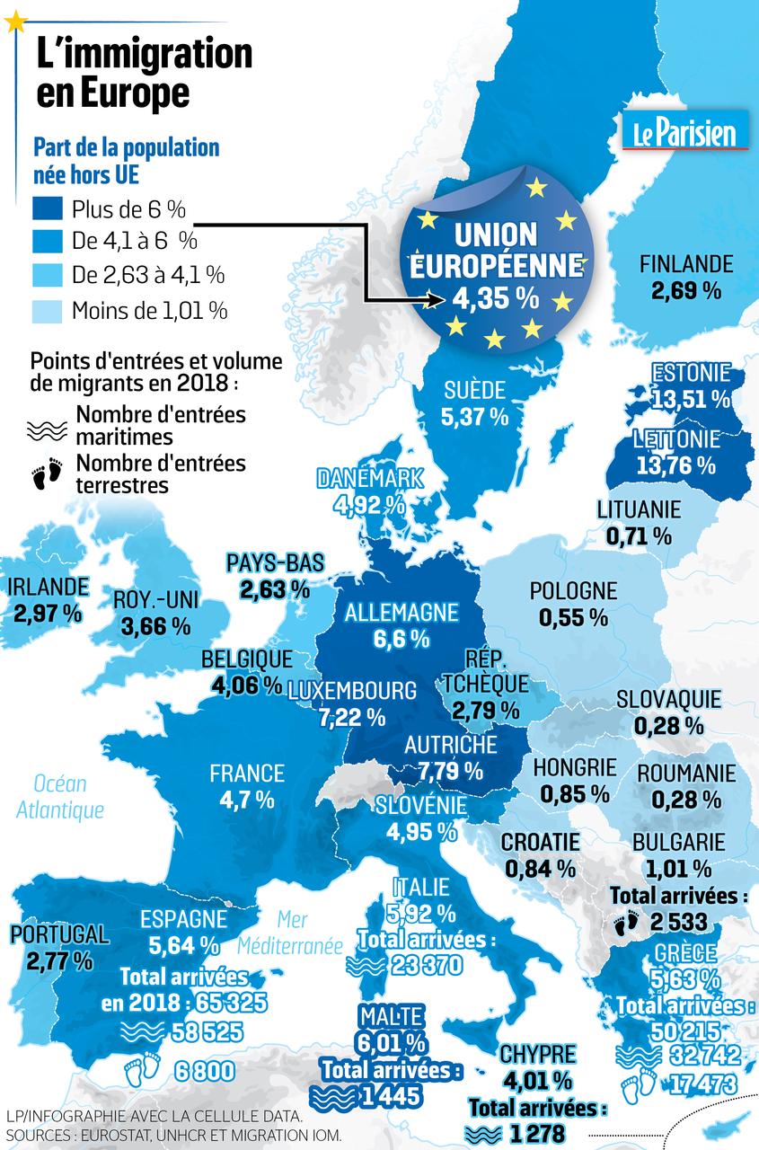 Carte Union Europeenne 2019.L Europe En Cartes Le Defi Migratoire Le Parisien